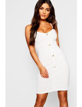 Gold Button Front Rib Knit Dress by Boohoo