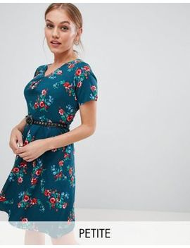 Yumi Petite Floral Print Dress With Studded Belt by Dress