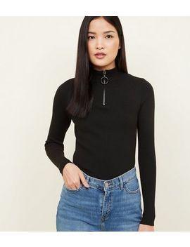 Black Ribbed Half Zip Jumper by New Look