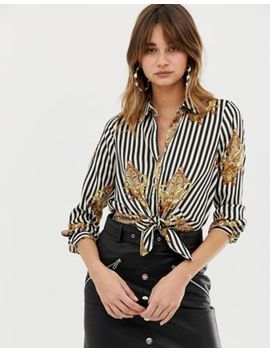 River Island Shirt With Tie Front In Stripe by River Island