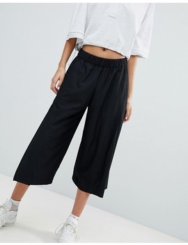 Weekday Side Split Wide Leg Crop Pant In Black by Weekday