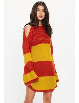 Orange Oversized Chunky Knit Stripe Jumper Dress by Missguided