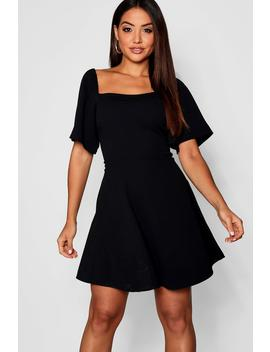 Volume Sleeve Square Neck Skater Dress by Boohoo