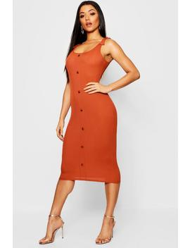 Tie Shoulder Rib Mock Horn Button Midi Dress by Boohoo