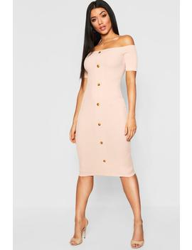 Mock Horn Button Rib Off Shoulder Midi Dress by Boohoo