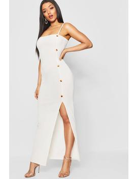 Mock Horn Button Rib Split Maxi Dress by Boohoo