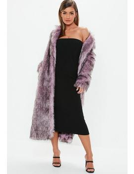 Pink Tipped Maxi Faux Fur Coat by Missguided