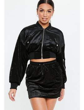 Black Velvet Pocket Co Ord Jacket by Missguided