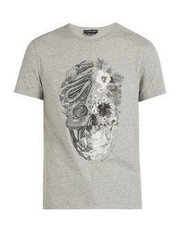 Patchwork Skull Print Cotton T Shirt by Alexander Mc Queen