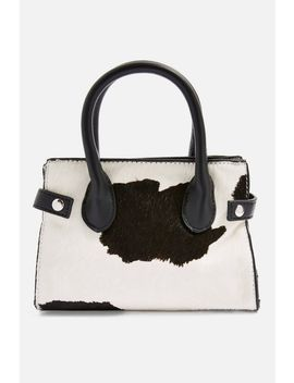 Paris Cow Print Mini Tote Bag by Topshop