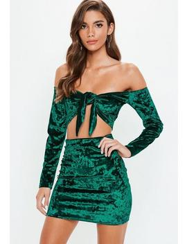 Green Crushed Velvet Crop Top Mini Skirt Set by Missguided