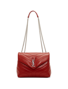 Red Small Loulou Monogramme Chain Bag by Saint Laurent