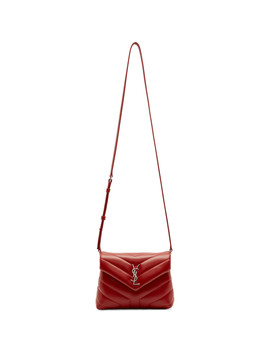 Red Loulou Monogramme Shoulder Bag by Saint Laurent