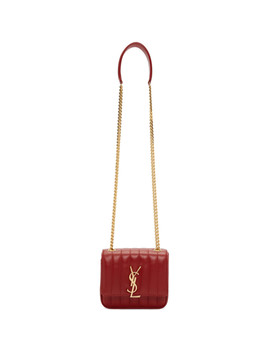 Red Small Vicky Monogramme Chain Bag by Saint Laurent