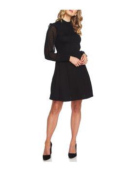 Sheer Swiss Dot Ruffle Bishop Sleeve Mock Neck Knit A Line Dress by Ce Ce
