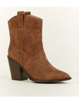 Tan Leather Look Western Calf Boots by New Look