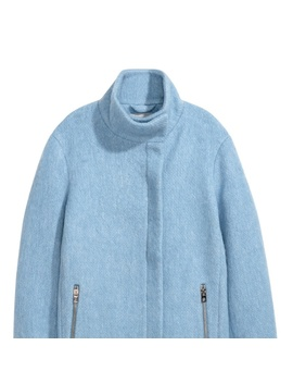Light Blue Wool Blend Felted Stand Up Collar Coat   Nwt by H&M