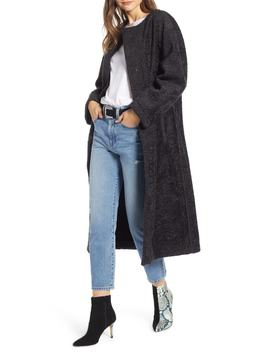 Long Faux Shearling Coat by Something Navy