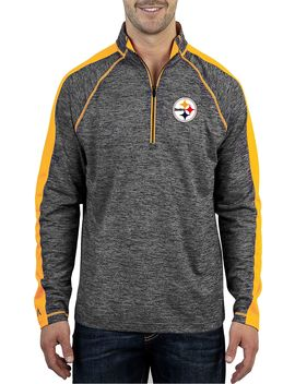 Antigua Men's Pittsburgh Steelers Advantage Black Quarter Zip Pullover by Antigua