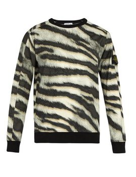 Tiger Print Cotton Jersey Sweatshirt by Stone Island