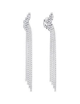 Fit Clip Earrings, White, Ruthenium Plating by Swarovski