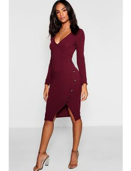 Tall Button Front Rib Wrap Dress by Boohoo