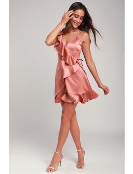 Limelight Blush Pink Satin Ruffled Mini Dress by Jack By Bb Dakota