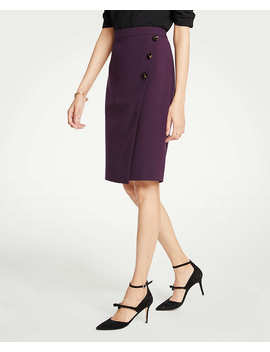 Doubleweave Side Button Wrap Pencil Skirt by Ann Taylor