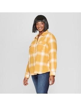 Women's Plus Size Plaid Long Sleeve Flannel Shirt   Universal Thread™ Yellow by Universal Thread