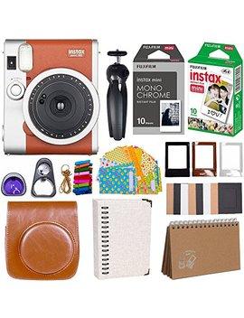 Fujifilm Instax Mini 90 Instant Camera + Fuji Instax Film (20 Sheets) + Giant Accessories Bundle(12 Piece) (Brown) by Fujifilm