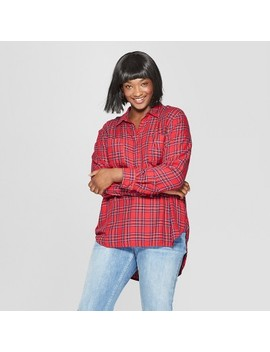 Women's Plus Size Plaid Long Sleeve Tunic   Universal Thread™ Red by Universal Thread