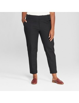 Women's Plus Size Ankle Pants With Comfort Waistband by Ava & Viv