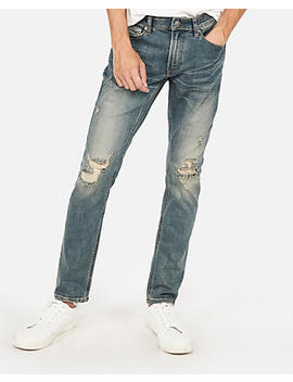 Skinny Medium Wash Destroyed Stretch+ Performance Jeans by Express