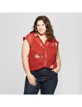 Women's Plus Size Floral Print Button Down Short Sleeve Shirt   Ava & Viv™ Red by Ava & Viv