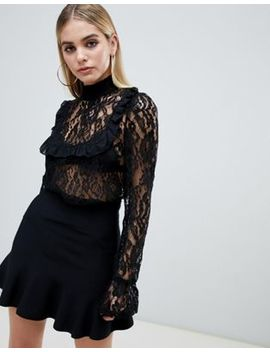 Pretty Little Thing Lace Ruffle Frill Blouse In Black by Pretty Little Thing
