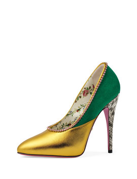 110mm Peachy Leather And Suede Pump by Gucci