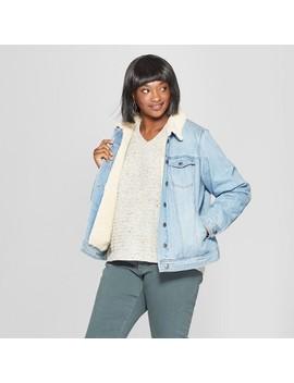 Women's Plus Size Denim Sherpa Jacket   Universal Thread™ Light Wash by Universal Thread