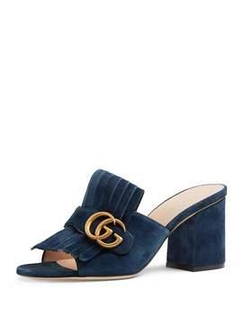 Marmont Suede Fringe Slide Sandals by Gucci