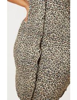 Plus Tan Leopard  Print Button Detail Midi Shirt Dress by Prettylittlething