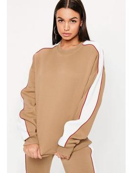 Camel Co Ord Contrast Side Panel Oversized Sweatshirt by Missguided