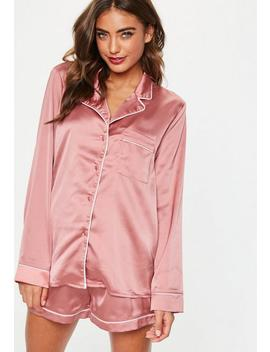 Pink Piping Detail Short Pyjama Set by Missguided