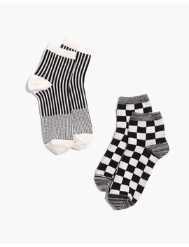 Two Pack Checkerboard And Stripe Ankle Socks by Madewell