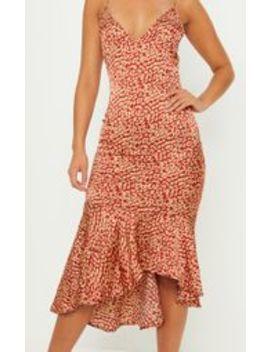 Red Leopard Print Frill Hem Midi Dress by Prettylittlething