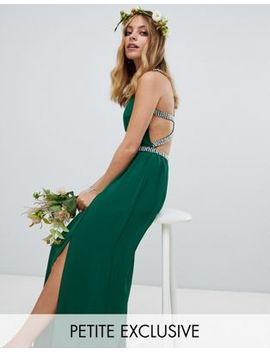 Tfnc Petite Embellished Bridesmaids Maxi Dress In Forest Green by Tfnc