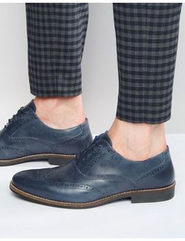 Red Tape Brogues In Navy Leather by Shoes