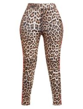 Black Leopard Print Contrast Binding Skinny Trouser by Prettylittlething