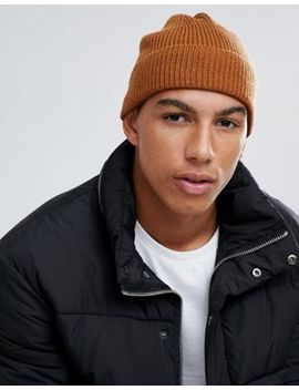 Asos Design Fisherman Beanie In Tobacco by Asos Design