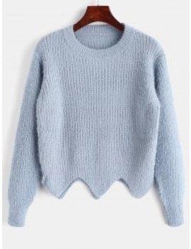 Asymmetric Hem Fuzzy Sweater   Light Blue by Zaful