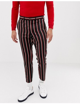Heart & Dagger Skinny Cropped Smart Pant In Navy And Red Stripe by Heart & Dagger