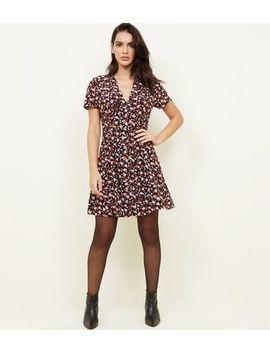 Black Floral Print Button Through Tea Dress by New Look